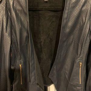 Navy Blue Leather Blazer sz XL